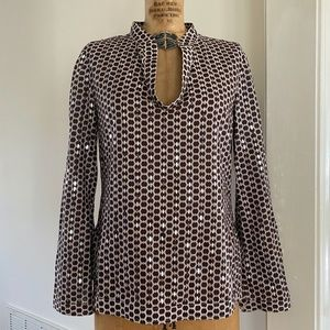 Tory Burch Cotton Sequined Tunic Blouse Sz8